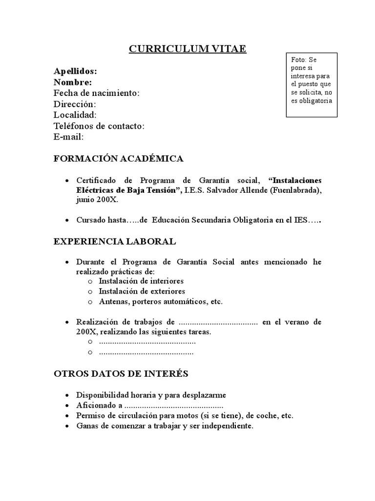 Excepcional Formato De Curriculum Vitae De Experiencia Para Bpo ...