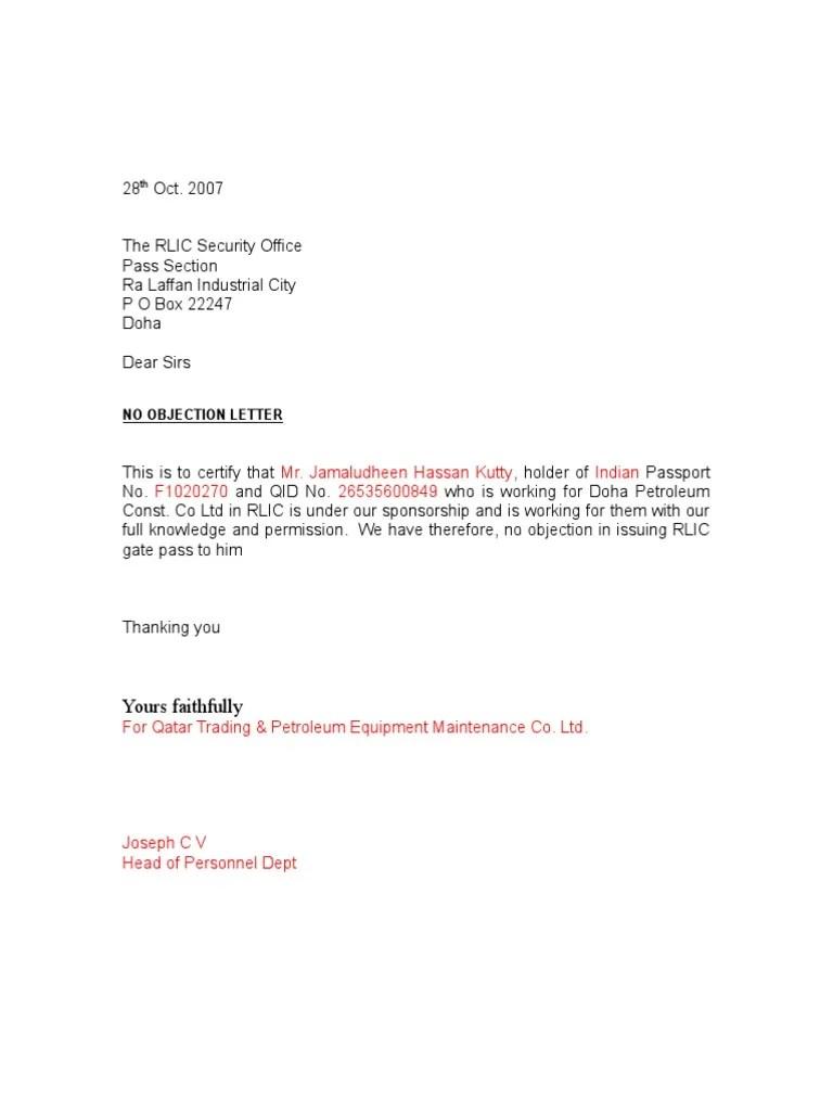 Doc.#768994: Noc Letter Sample – Sample No Objection Letter