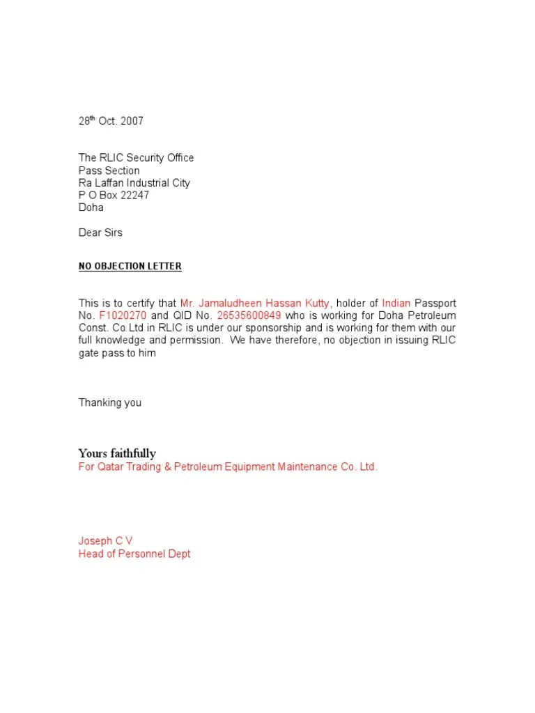 Noc Letter Formate Within Noc Letter
