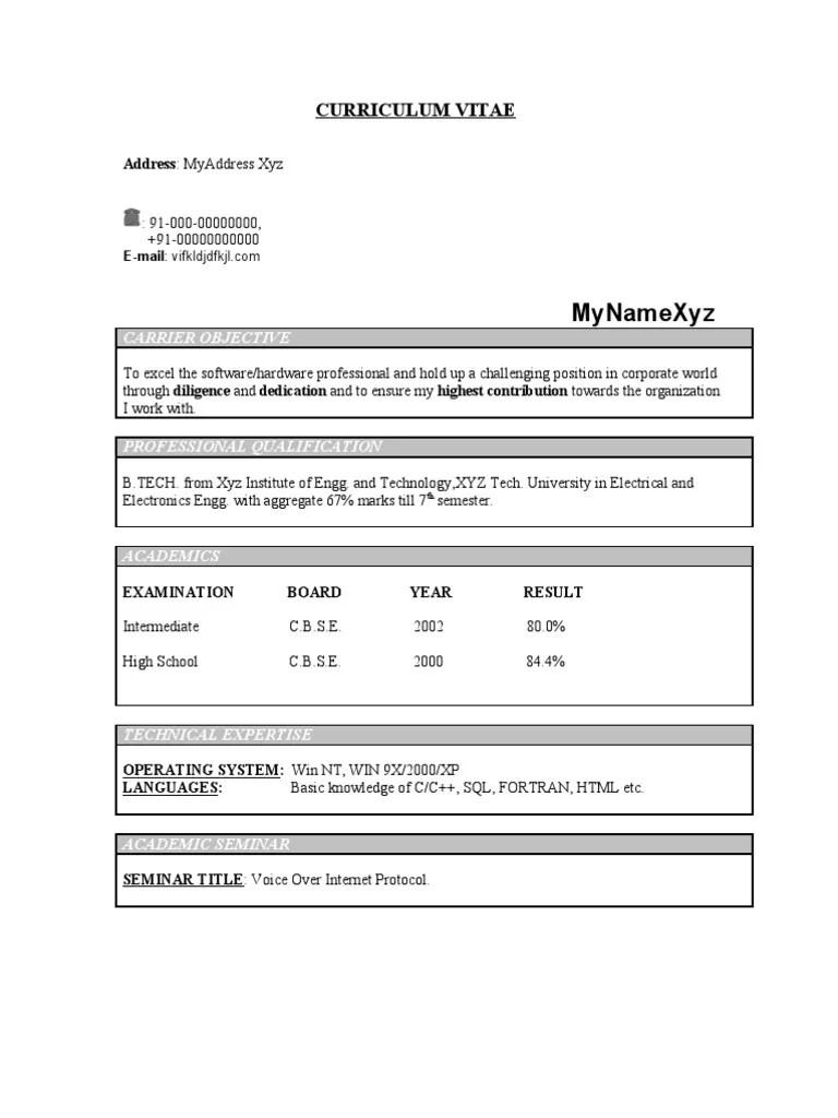 resume model for ece freshers