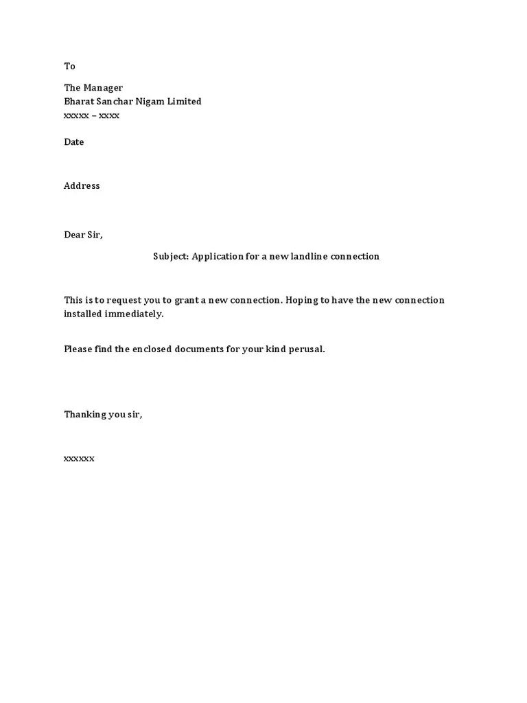 Sample Letter Format For New Telephone Connection – New Letter Format