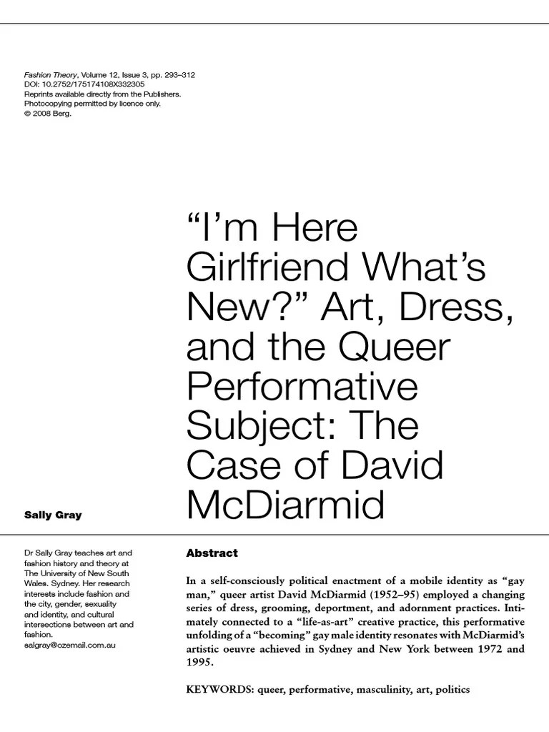 Arte Queer Pdf Art Dress And The Queer Performative Subject Queer Theory