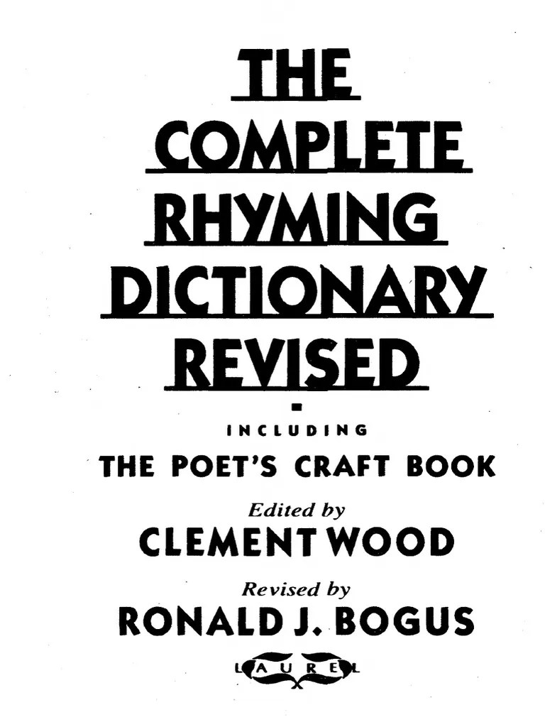 The Complete Rhyming Dictionary Revised Metre Poetry Poetry