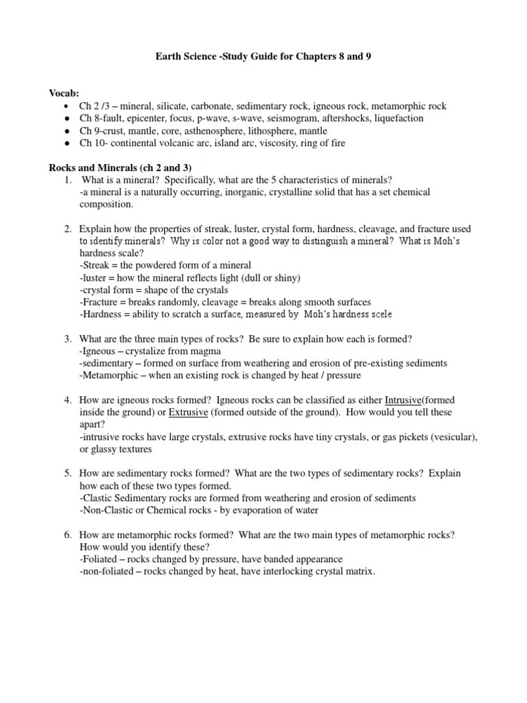 Study Guide 3 Unit 2 3 Study Guide With Answers Plate Tectonics Volcano