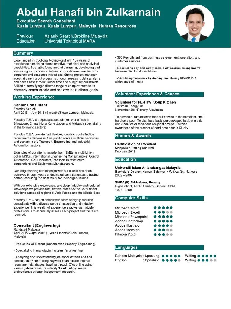 resume examples malaysia format