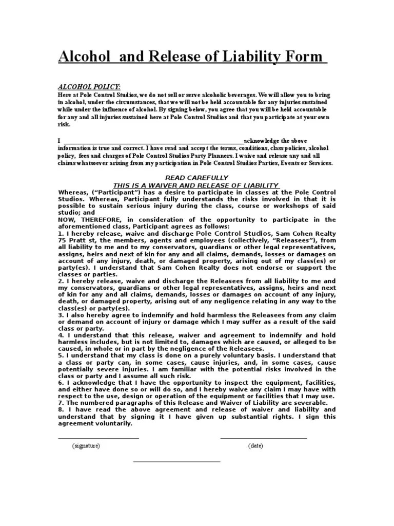 Accident Waiver And Release Of Liability Form Alcohol And Release Of Liability Form Indemnity Waiver