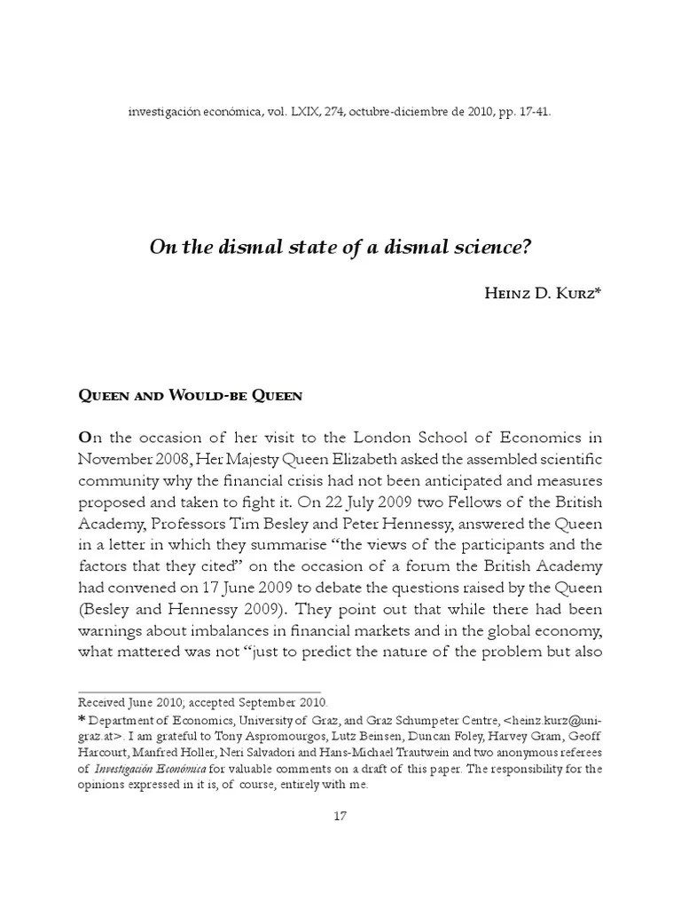 Xlutz Graz On The Dismal State Of A Dismal Science Pdf Keynesian Economics