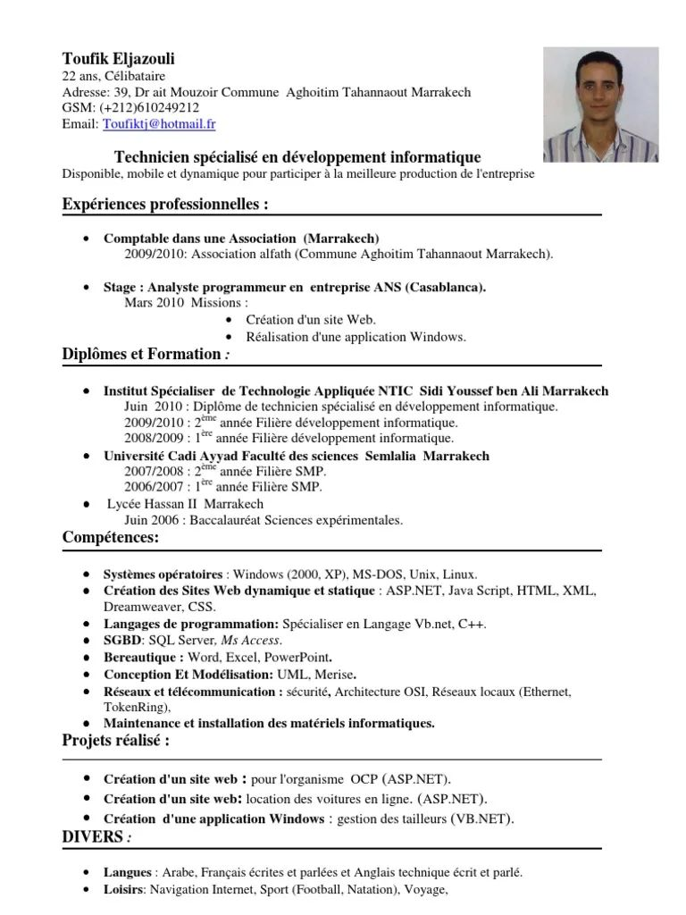 exemple de cv technicien superieur