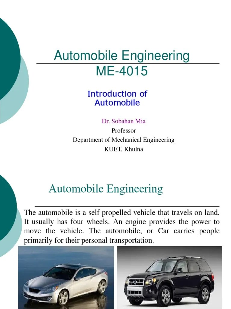 Automobile Engineering For Automobile Engineering Introduction To Automobile Engineering