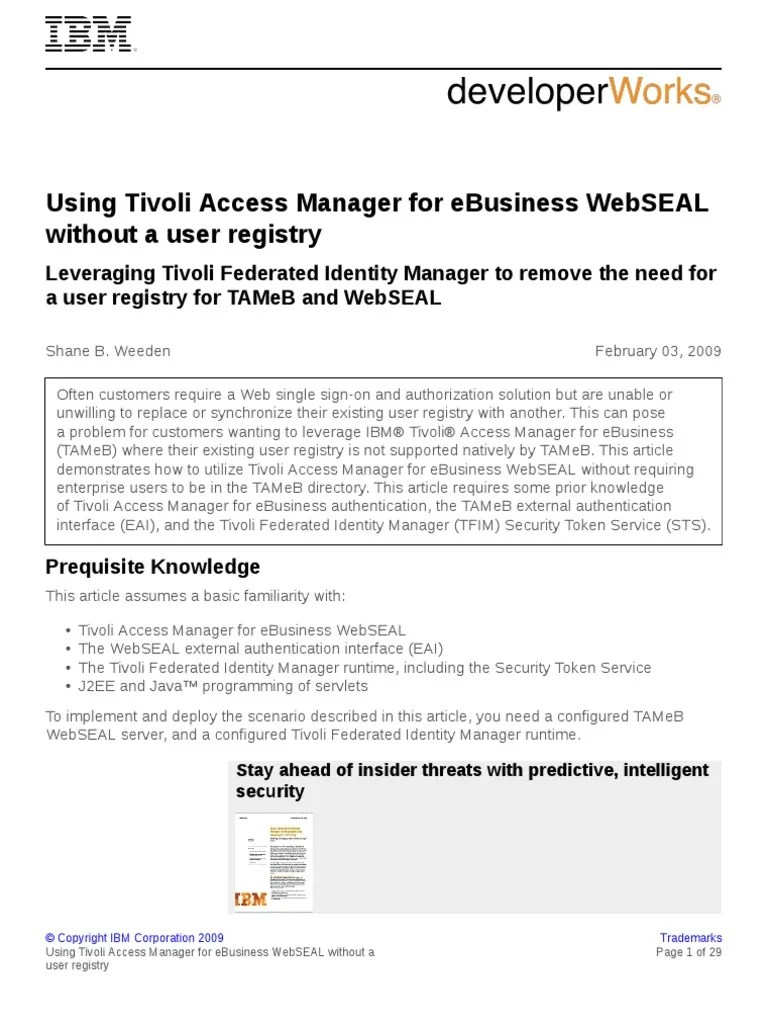 Tivoli Access Manager Download T Tamwsealur Pdf Windows Registry 6 Views