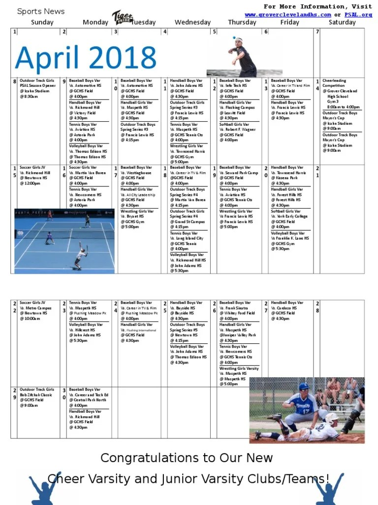 M Line Kopfkissen Sports Calendar April 2018