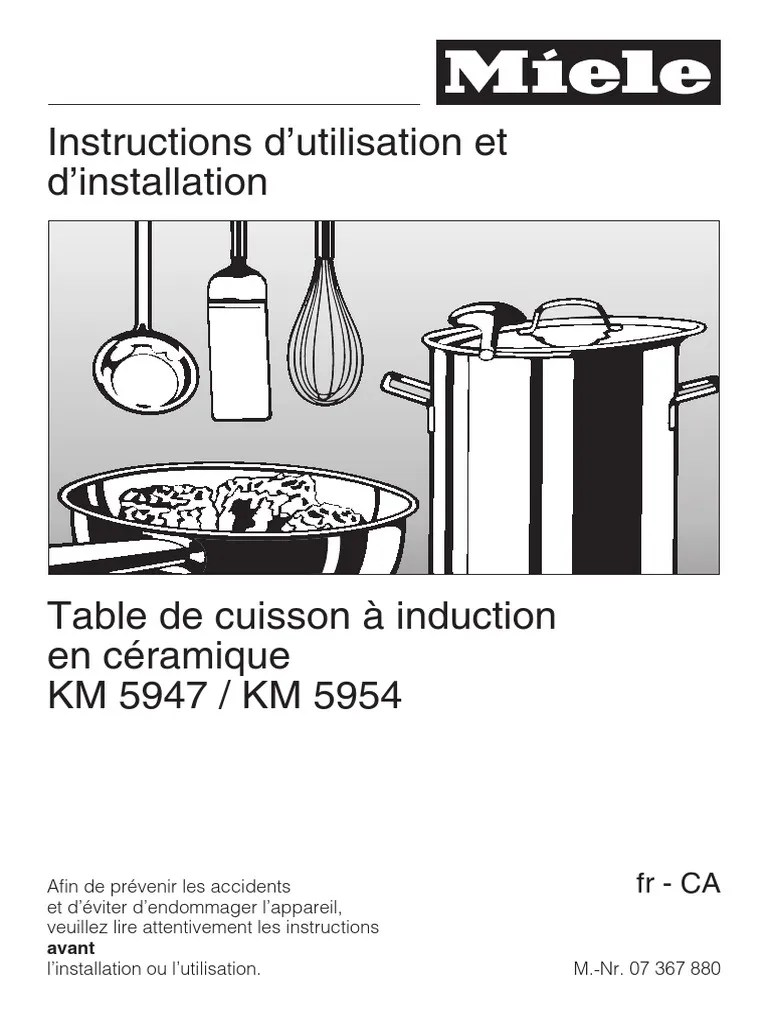 Symbole Induction Miele Induction Cooktop Manual Km5947 5954 Fr Ca
