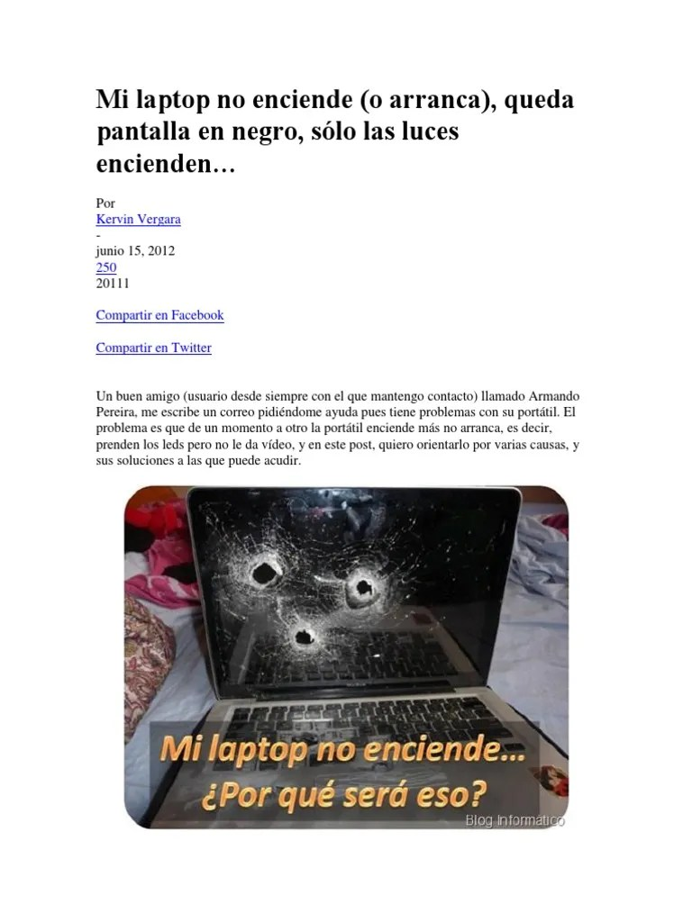 Mi Portatil No Se Enciende Mi Laptop No Enciende