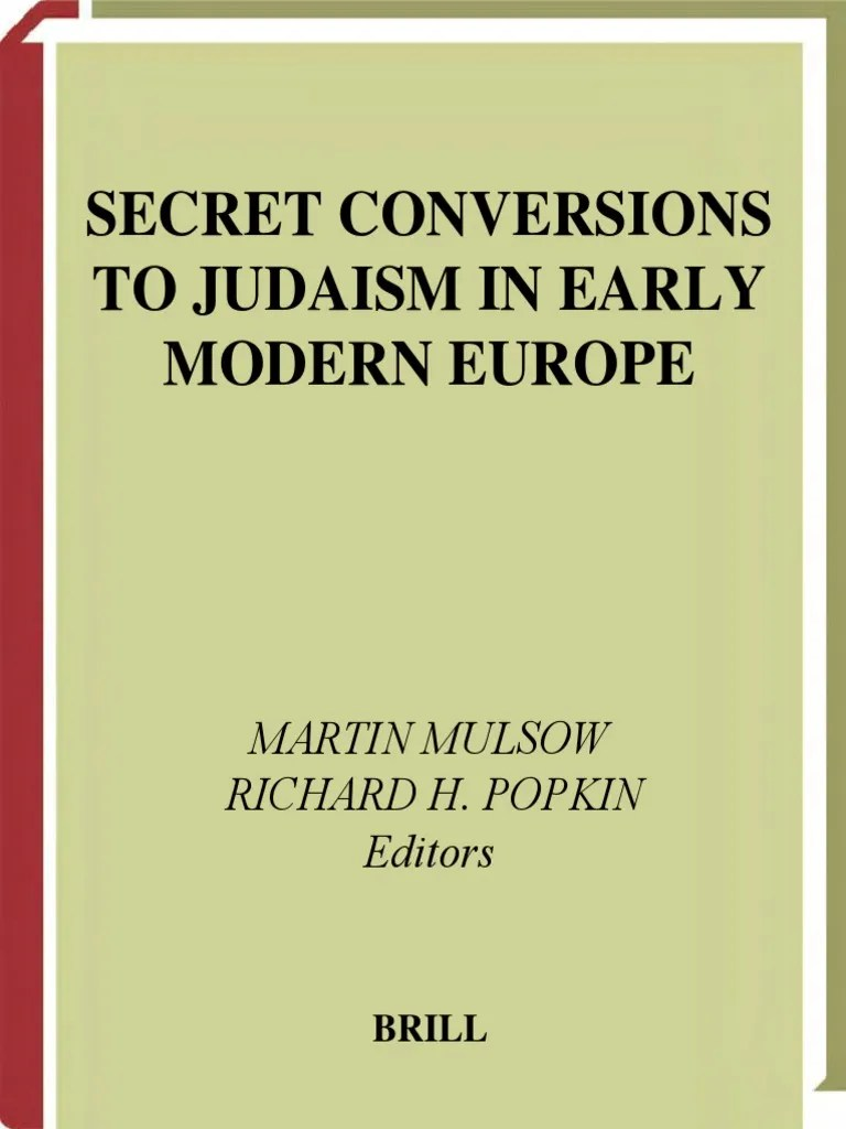 Sessel Modern Vampires Secret Conversions To Judaism In Early Modern Europe 2004 Pdf