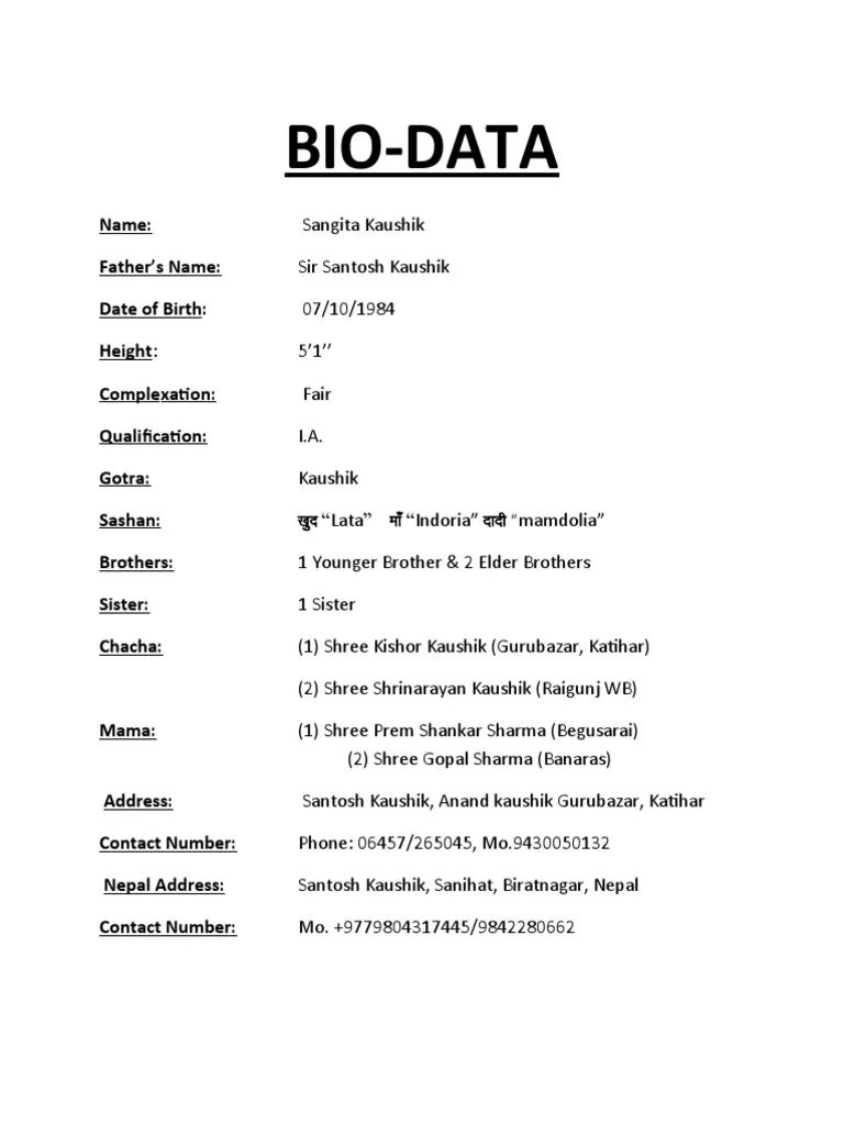 latest biodata format