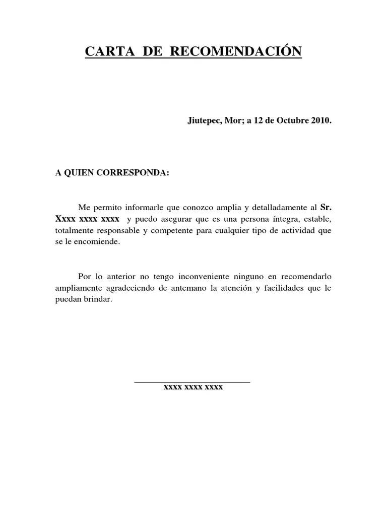 carta de referencia personal ejemplo