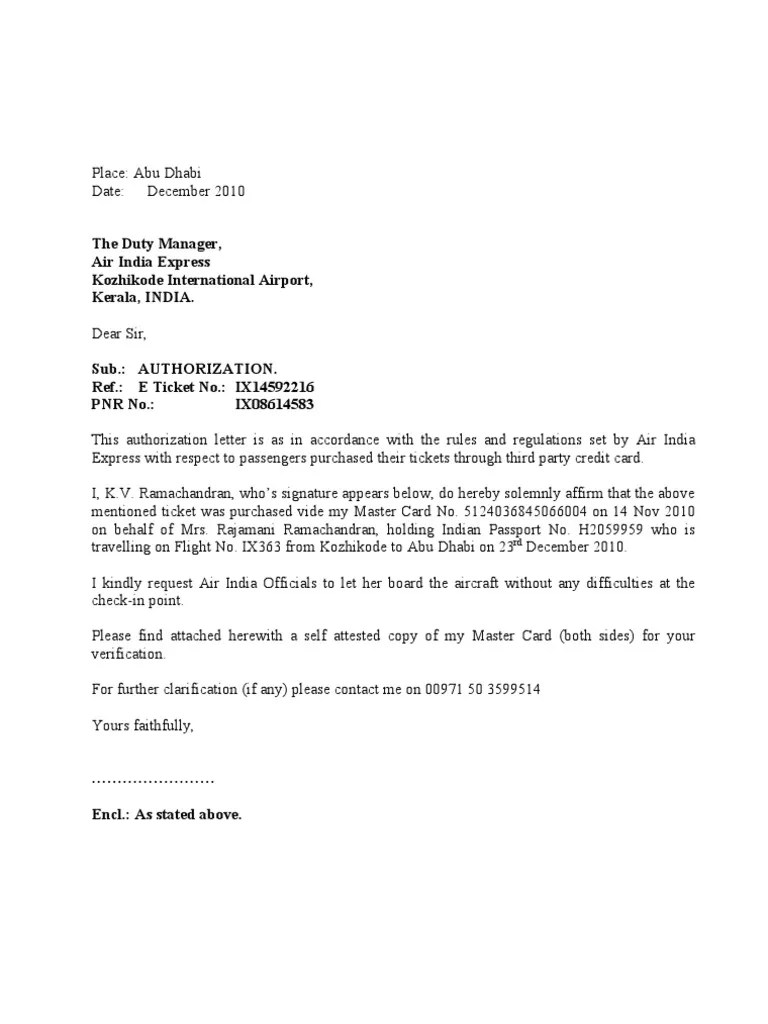 Credit Card Wikipedia Authorization Letter To Air India