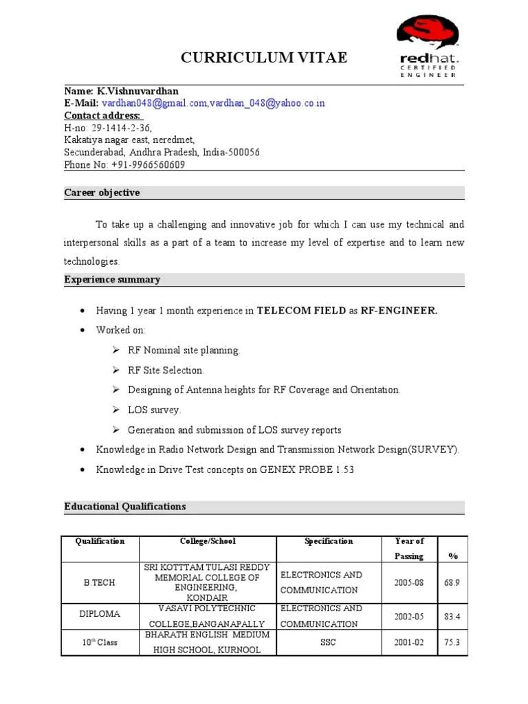 rhce fresher resume sample