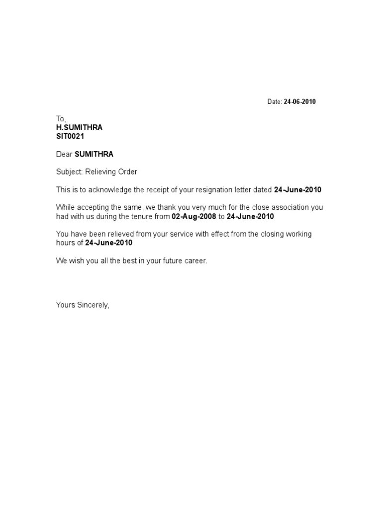How To Write A Request Letter For Experience Certificate Format Of Relieving Letter