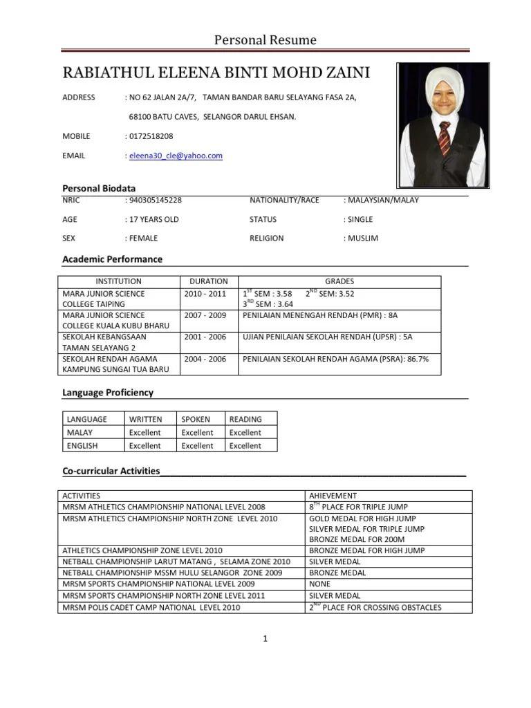 personal cv english pdf