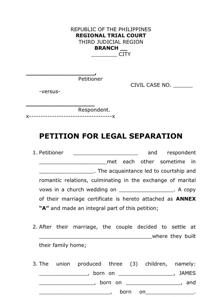 Petition For Legal Separation Legal Form