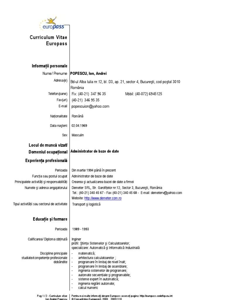 Model cv europass popescu best resumes curiculum vitae and cover model cv europass popescu cursuri manager resurse umane bucuresti autorizat model cv european completat yelopaper Images