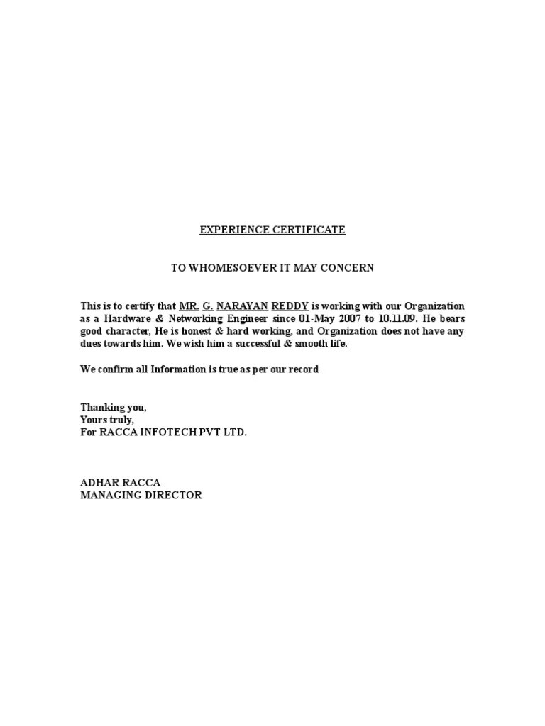 Contract Manager Cover Letter For Resume Bsr Experience Certificate