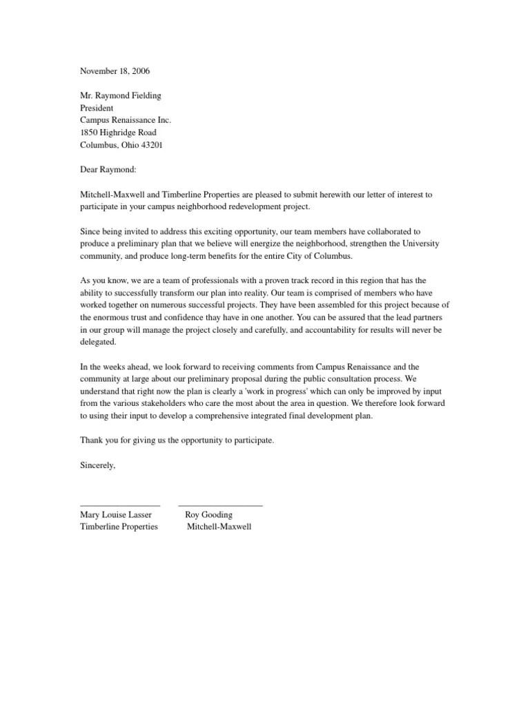 Canadian Real Estate Letter Intent