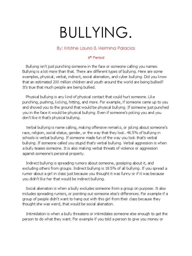 bullying essay examples
