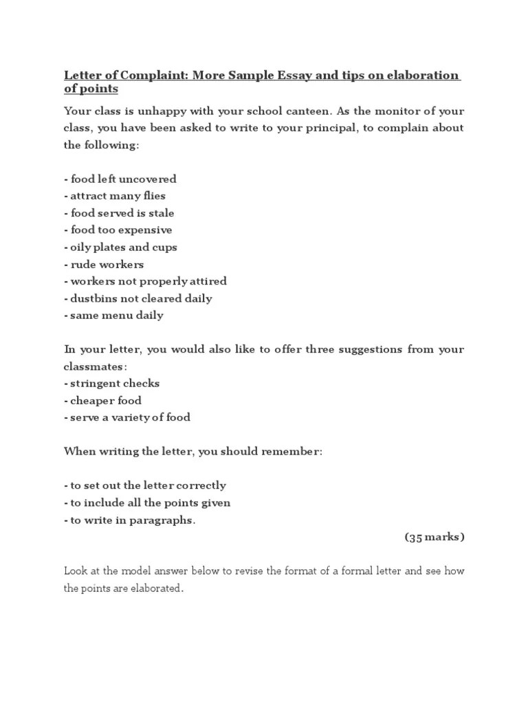 Essay formal letter complaint about school canteen example good essay formal letter complaint about school canteen letter of complaint school canteen free essays letter of spiritdancerdesigns Gallery