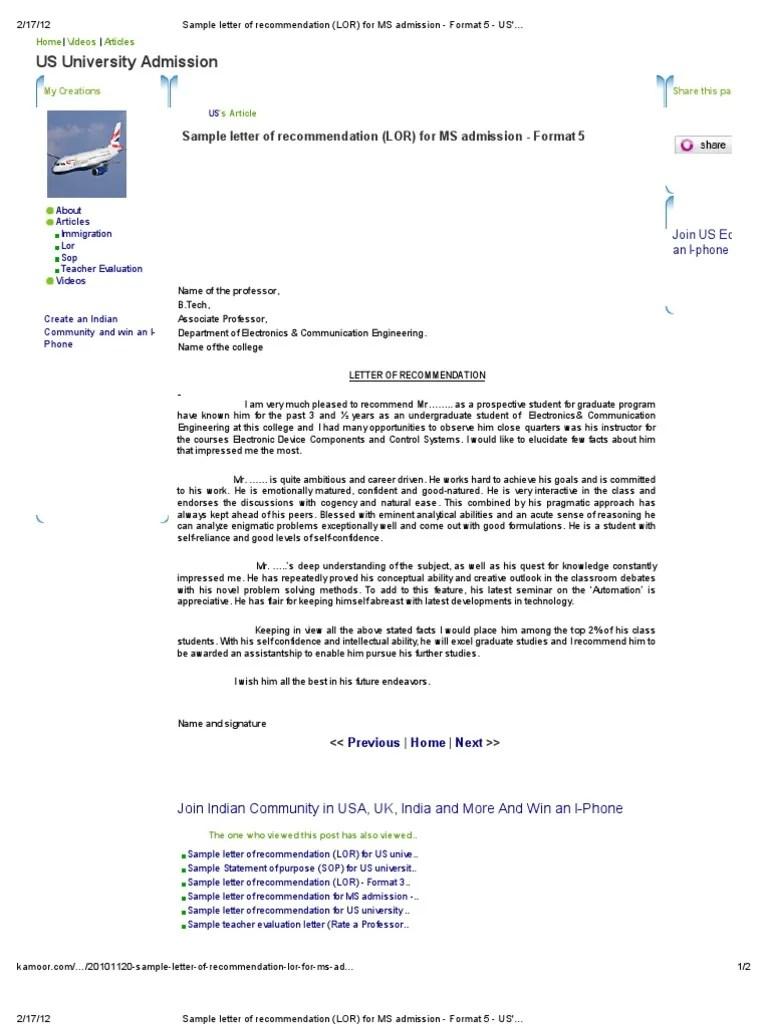 How To Address College Recommendation Envelopes 12 Steps Sample Letter Of Recommendation Lor For Ms Admission