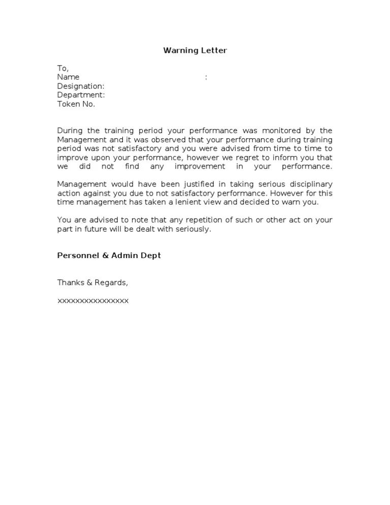 sample reprimand letter for poor performance