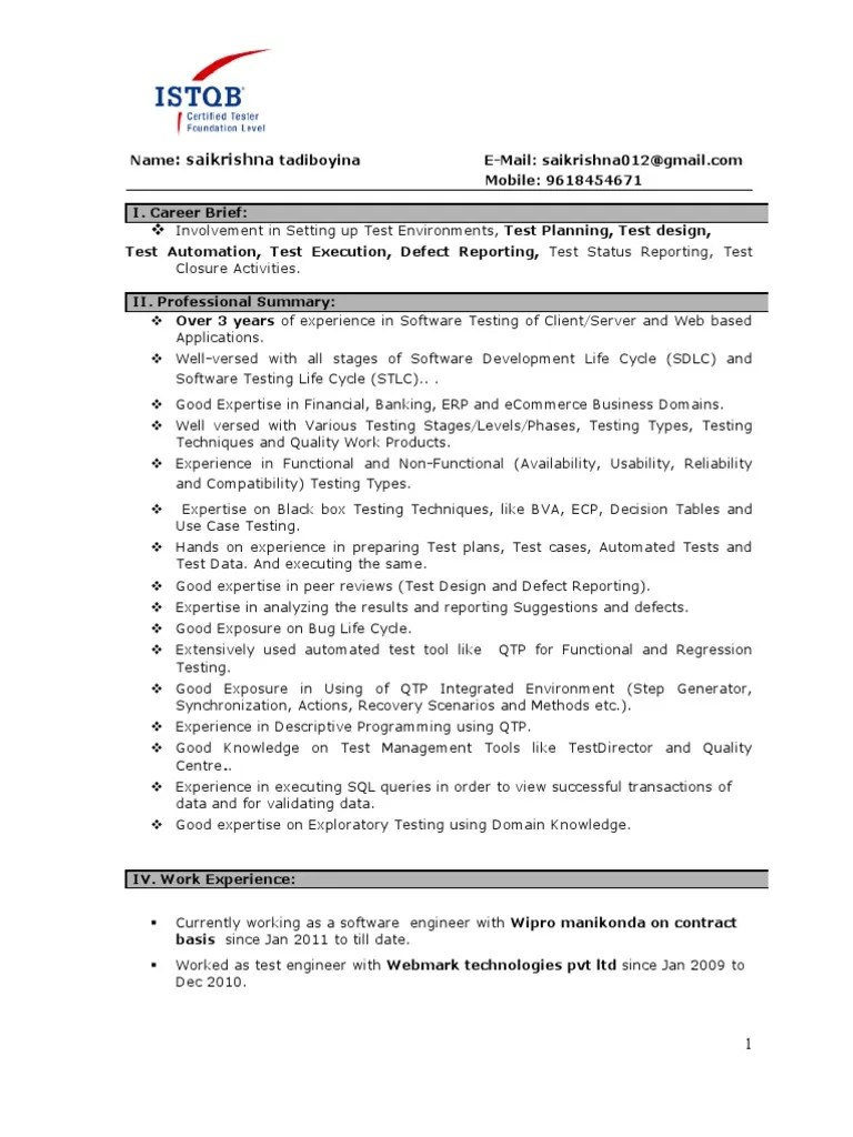 manual testing 1 year experience sample resume