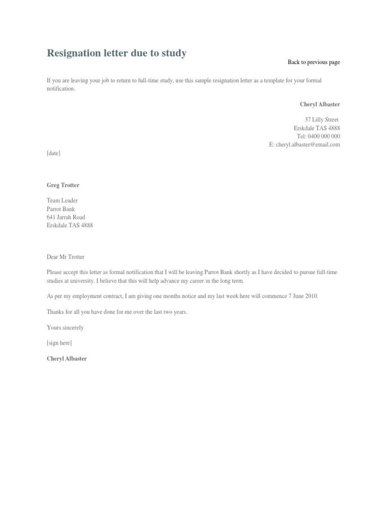 formal resignation letter for higher studies cover letter formal resignation letter for higher studies sample resignation letter format due to higher studies sample resignation