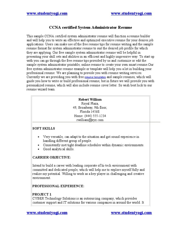 Ccna Resume Networking Skills Resume Sap Pre S Resume Examples Of Current  Ccna Cv Template Sample