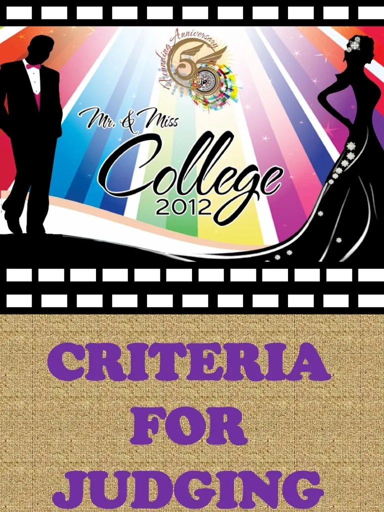 Poster Judging Form Criteria For Judging Mr Ms College 2012 62k Views