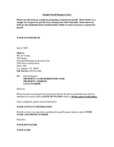 Sample Payoff Request Letter