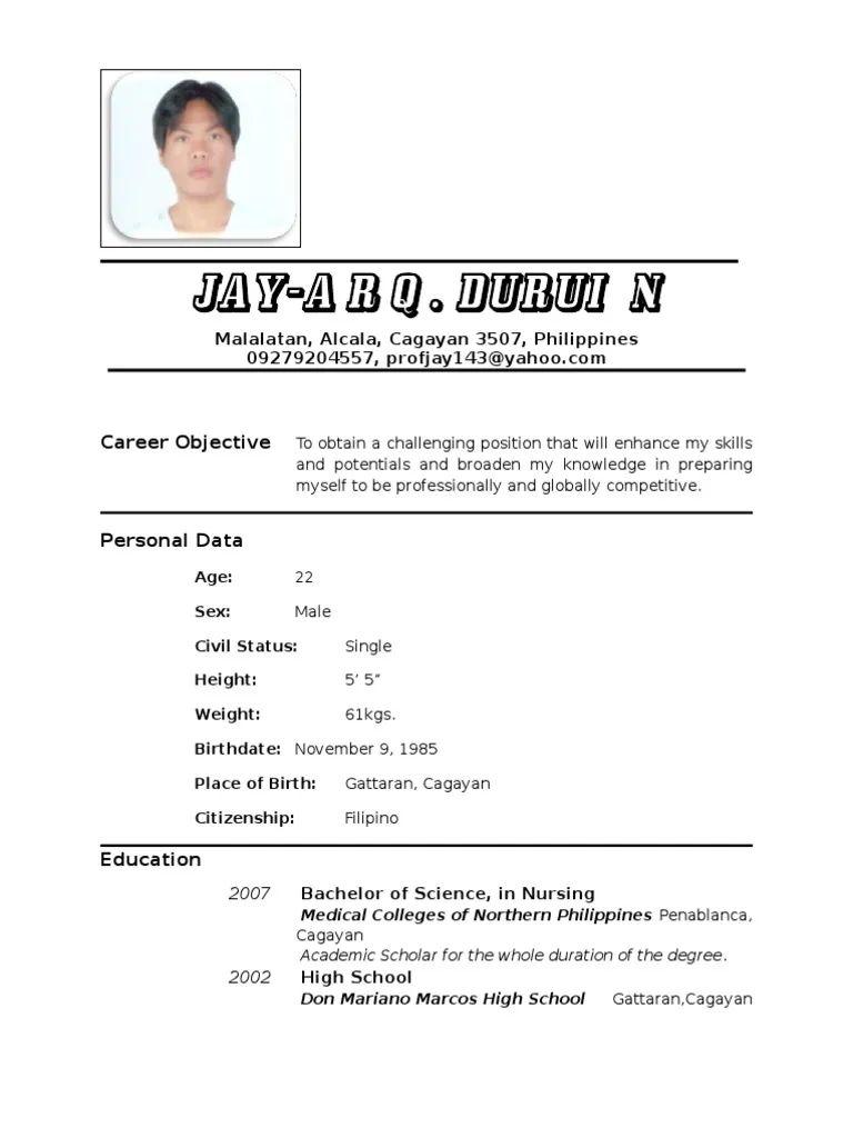 sample nurse resume scribd