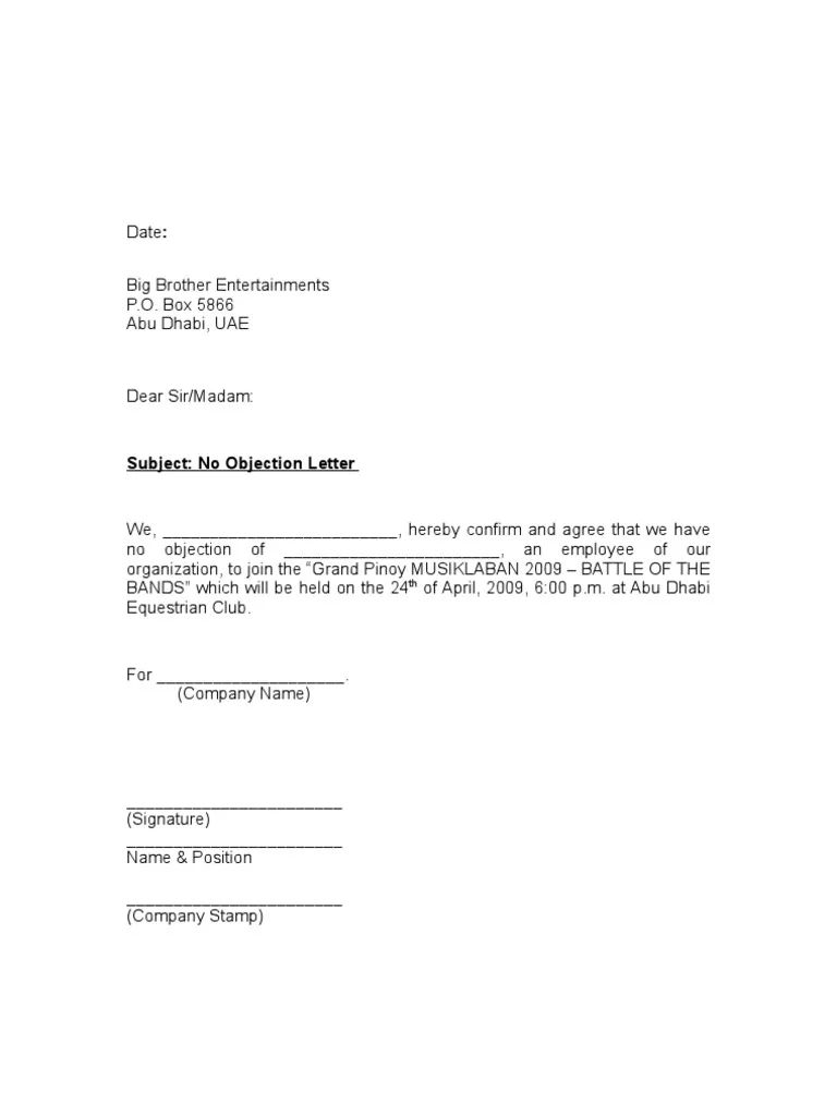 letter of no objection template