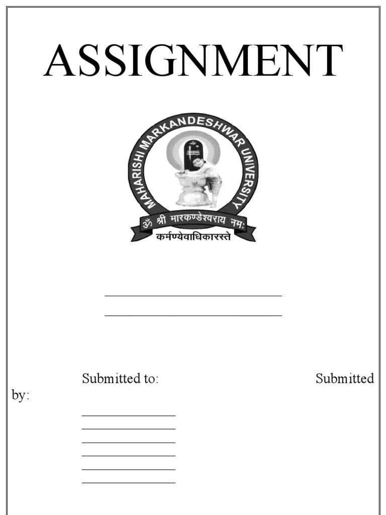 front page design for assignment