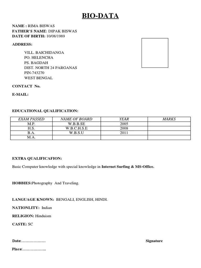 simple biodata format in doc resume maker create professional simple biodata format in doc simple biodata format
