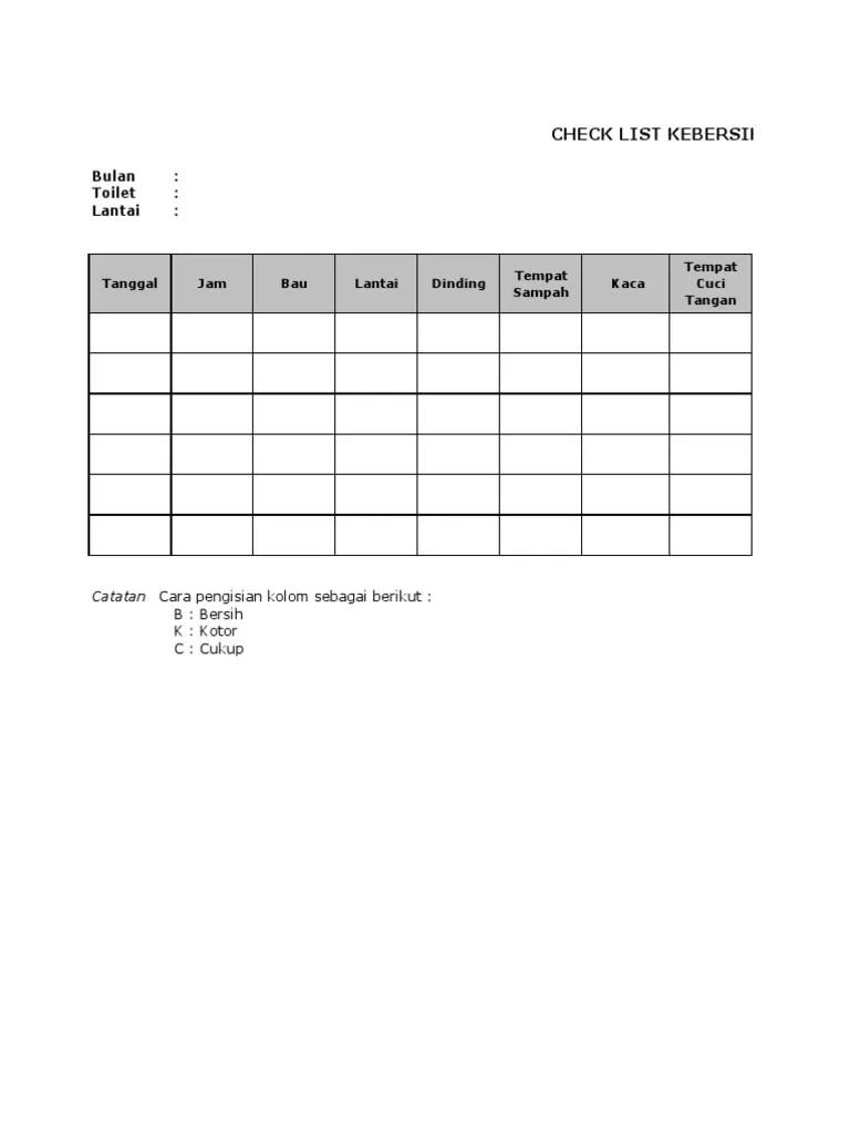 Checklist Kebersihan Toiletxls