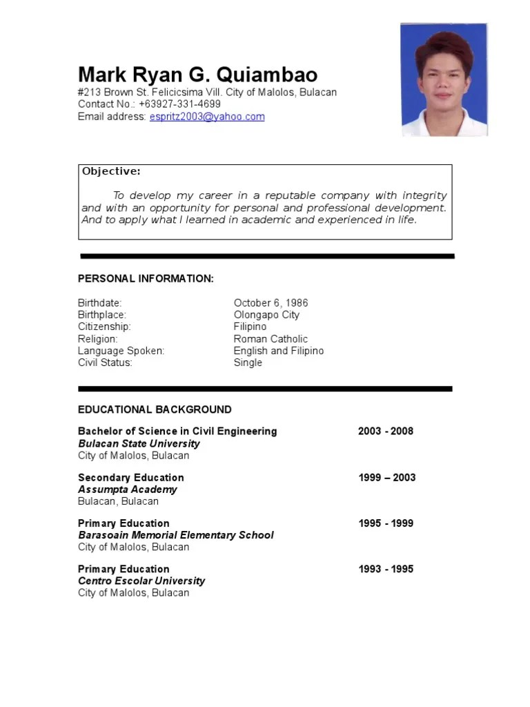 Resume Format In The Philippines Sample Resume Format For Fresh Jobstreet Philippines Mark Ryan Quiambao Resume Philippines