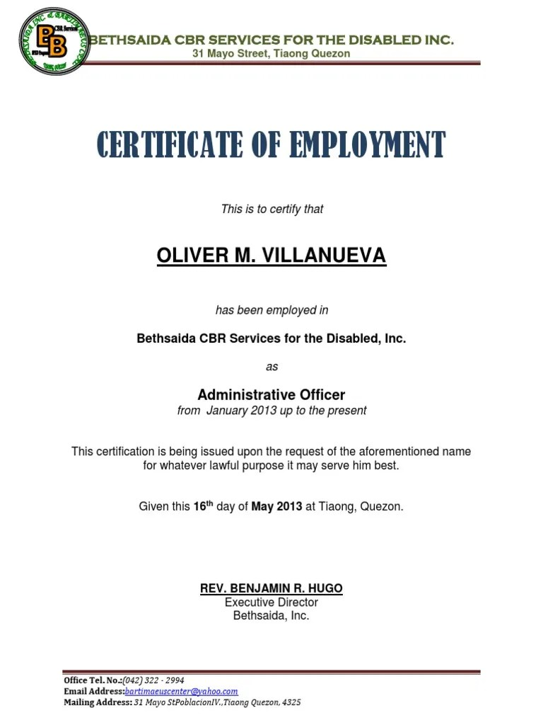 Certificate of Employment Sample.docx
