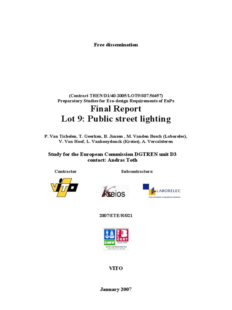 Telemanagement Openbare Verlichting Street Lighting Fluorescent Lamp Life Cycle Assessment