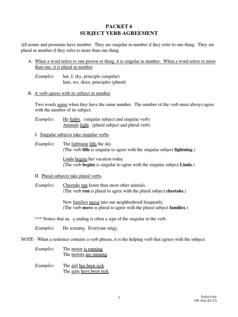 worksheet Subject Verb Agreement Worksheets With Answers subject verb agreement exercises with answer key best resumes and how to make the subject