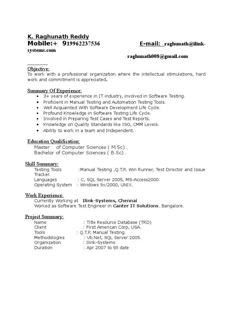 manual testing resume sample 2 experience