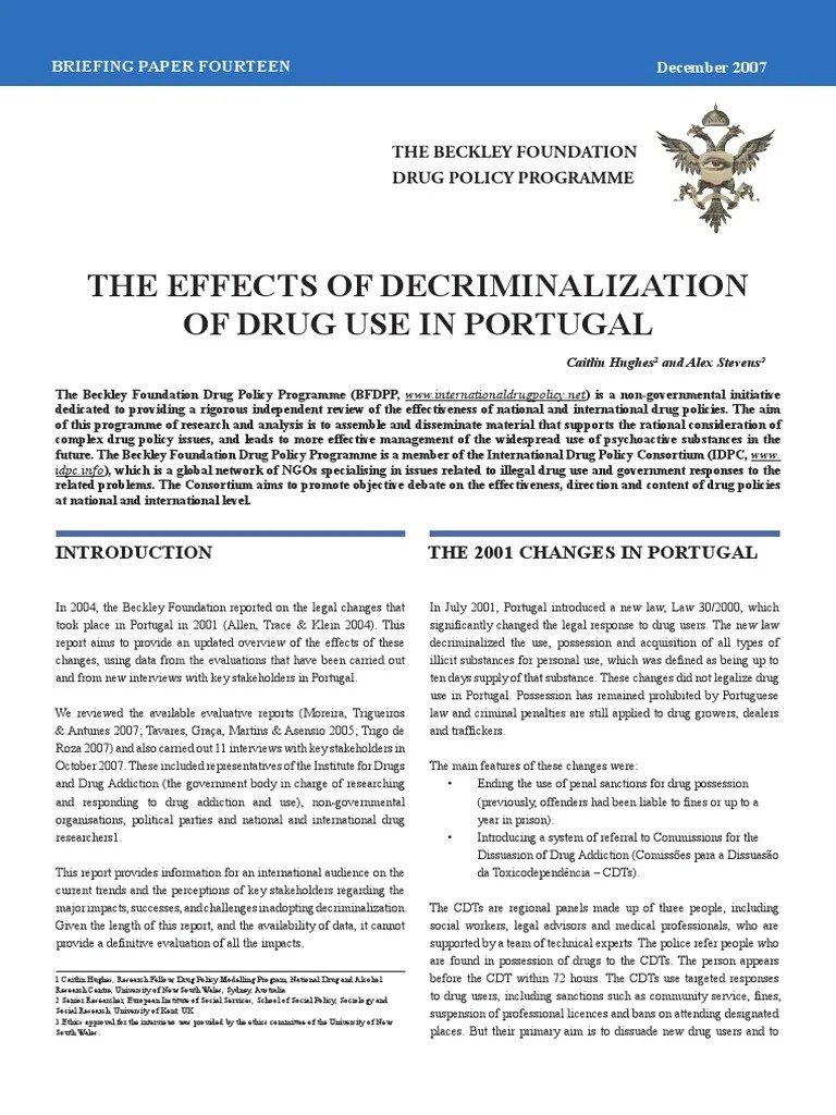 Carrera Sessel The Effects Of Decriminalization Of Drug Use In Portugal