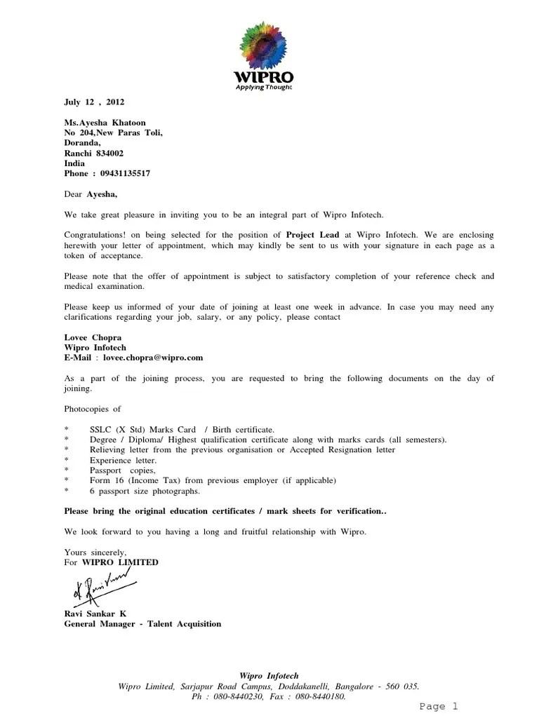 offer letter acceptance