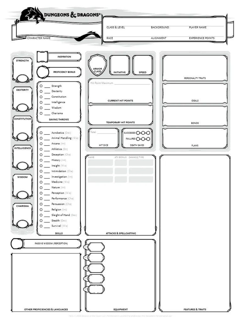 Libros Dungeons And Dragons Dungeons & Dragons - 5th Edition - Character Sheet (3 Pages)